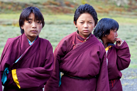 drover: DHO TARAP, NEPAL - SEPTEMBER 10: Students of Crystal Mountain School poses for a photo during Full Moon festival on September 10, 2011 in Dho Tarap village, Dolpo, Nepal
