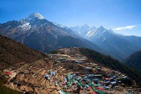 Namche Bazar view from above in Sagarmatha National park, Nepal. Namche Bazaar is a