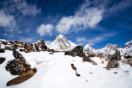 s and m: Mount Pumori 7161 m view in Sagarmatha National Park, Nepal. Pumori is a mountain on the Nepal-Tibet border in the Mahalangur section of the Himalaya. Pumori, which means Unmarried Daughter in the Sherpa language, was named by George Mallory. Climbers s Stock Photo