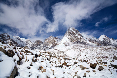 kilometres: Mount Pumori Pumo Ri, 7161 m in Everest region, Sagarmatha National Park in the Nepal Himalaya. Pumori lies just eight kilometres west of Mount Everest. Pumori, which means Unmarried Daughter in the Sherpa language, was named by George Mallory. Stock Photo