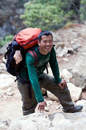 sherpa: Sherpa trekking guide walking across mountain pass on March 6, 2010 in Sagarmatha National Park, Nepal Himalaya