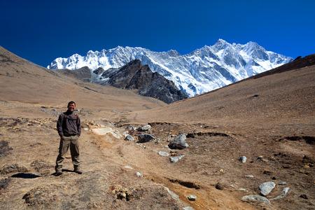 sherpa: Sherpa trekking guide at the pass on March 21, 2010 in Sagarmatha National Park, Nepal Himalaya