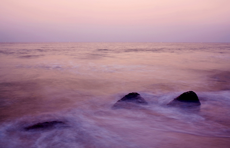 tranquilly: Indian Ocean at sunset in Kerala, South India Stock Photo