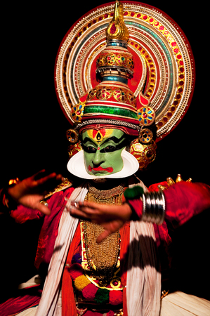 mahabharata: VARKALA, INDIA - FEBRUARY 3, 2010: Kathakali actor performing on the evening show in Varkala, Kerala, South India. Kathakali is the ancient classical dance form of Kerala.