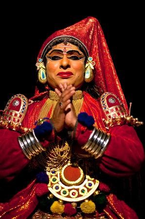 varkala: VARKALA, INDIA - FEBRUARY 4, 2010: Indian actor performing Kathakali Dance in Varkala Kathakali Center, Kerala, South India. Kathakali is the ancient classical dance form of Kerala. Editorial
