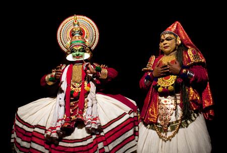 varkala: VARKALA, INDIA - FEBRUARY 10, 2010: Kathakali actors performing on the evening show in Varkala, Kerala, South India. Kathakali is the ancient classical dance form of Kerala. Editorial