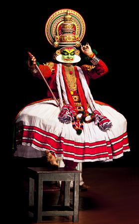 kathakali: Kathakali performer in the virtuous pachcha green role in Cochin on February 17, 2010 in South India. Kathakali is the ancient classical dance form of Kerala.