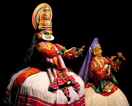 kathakali: FORT COCHIN - FEBRUARY 17: Kathakali performers in the virtuous pachcha green role in Cochin on February 17, 2010 in South India. Kathakali is the ancient classical dance form of Kerala.