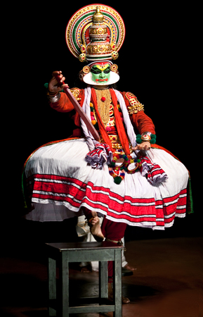 kathakali: FORT COCHIN - FEBRUARY 17: Kathakali performer in the virtuous pachcha green role in Cochin on February 17, 2010 in South India. Kathakali is the ancient classical dance form of Kerala.