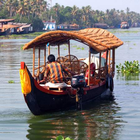 backwaters: Houseboat on the backwaters in Kerala state, South India Editorial
