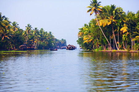 backwaters: Houseboat on the backwaters in Kerala state, South India Stock Photo