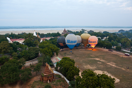 ballooning: Hot air balloons over Bagan, Myanmar. Ballooning over Bagan is one of the most memorable action for tourists.
