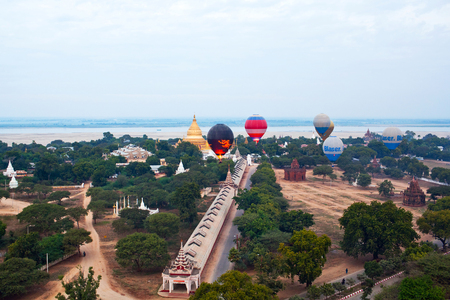 memorable: Hot air balloon over Bagan, Myanmar. Ballooning over Bagan is one of the most memorable action for tourists. Stock Photo