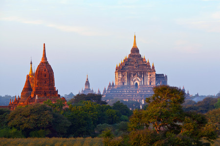 12th century: Thatbyinnyu Temple in Bagan, Myanmar. The pagoda was built in the 12th century during the reign of King Alaungsithu.