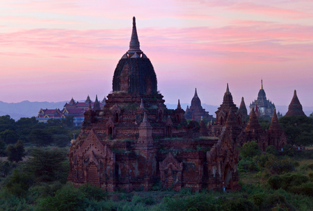 Panorama of Bagan Archaeological Zone, Myanmar. Bagans prosperous economy built over 10000 temples between the 11th and 13th centuries.