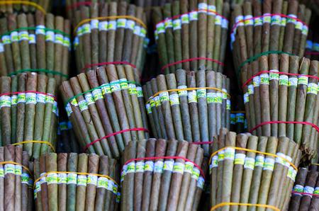 Burmese home-rolled cygar on the local weekly market