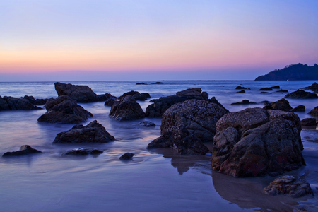 tranquilly: Ngapali beach in Myanmar at twilight background