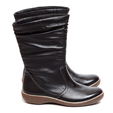 resisting: Female black boots isolated on the white background