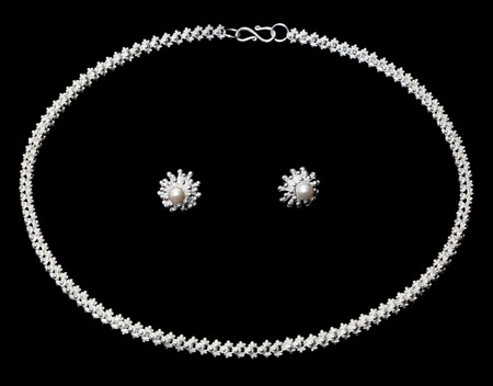 freshwater pearl: Sterling silver necklace and earrings with pearl over dark background