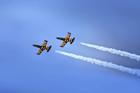 demonstrator: Russian aerobatic performance demonstrator team connected with the Russian Air Force on August 22, 2009 in Ramenskoe, Russia.