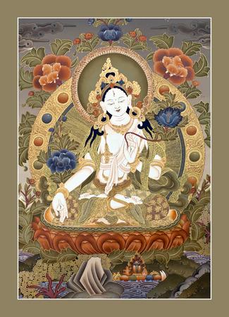 tantric: KATHMANDU, NEPAL - OCTOBER 5, 2011: Tibetan thangka painting White Tara at the exhibition of Nepalese and Tibetan art in Narayanhiti Palace Museum.