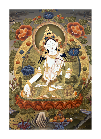 tara: KATHMANDU, NEPAL - OCTOBER 5, 2011: Tibetan thangka painting White Tara at the exhibition of Nepalese and Tibetan art in Narayanhiti Palace Museum.