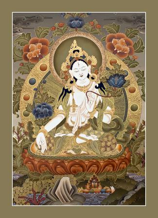 KATHMANDU, NEPAL - OCTOBER 5, 2011: Tibetan thangka painting White Tara at the exhibition of Nepalese and Tibetan art in Narayanhiti Palace Museum.