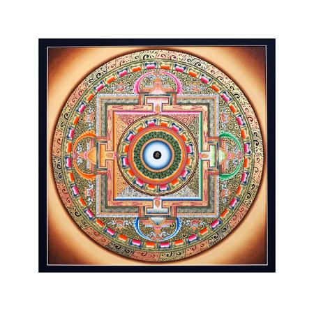 tantric: KATHMANDU, NEPAL - OCTOBER 9, 2011: Tibetan Thangka Wheel of life (Ohm Mandala) at the exhibition of Nepalese and Tibetan art in Narayanhiti Palace Museum.