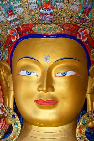 Statue of The Maitreya Buddha (Future Buddha) in Thiksey Gompa in Leh, Ladakh, Jammu and Kashmir, India