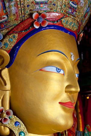 Beautiful statue of Maitreya Buddha (Future Buddha) at Thiksey Gompa in Leh, Ladakh, Jammu and Kashmir, India