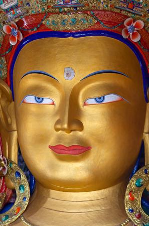 LEH, INDIA - JUNY 11: Beautiful sculpture of The Maitreya Buddha (Future Buddha) at Thiksey Gompa on Juny 11, 2013 in Leh, Ladakh, Jammu and Kashmir, India