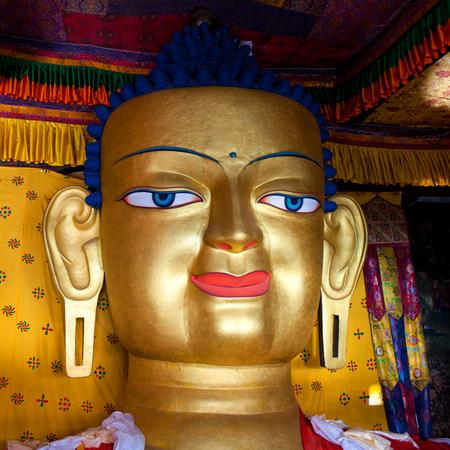 gautama buddha: Beautiful sculpture of Gautama Buddha in Shey Monastery in Leh, Ladakh, Jammu and Kashmir, India. The main Shakyamuni Buddha statue in the monastery is a 12 metres (39 ft) icon covering three floors of the monastery.