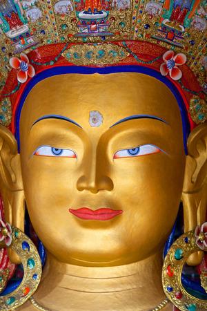 Ancient sculpture of Maitreya Buddha (Future Buddha) at Thiksey Gompa in Leh, Ladakh, Jammu and Kashmir, India