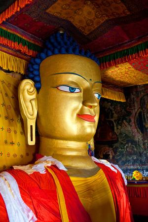 gautama buddha: Ancient sculpture of Gautama Buddha in Shey Gompa in Leh, Ladakh, Jammu and Kashmir, India. The main Shakyamuni Buddha statue in the monastery is a 12 metres (39 ft) icon covering three floors of the monastery. Editorial