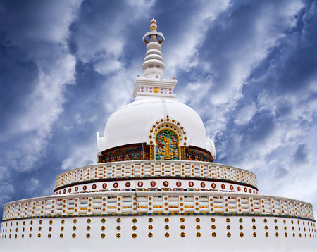 Shanti Stupa (Peace Pagoda) on a hilltop in Chanspa in Leh, Jammu and Kashmir state, North India.