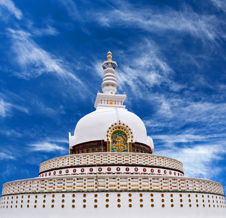 shanti: Shanti Stupa (Peace Pagoda) in Leh, Jammu and Kashmir state, North India. Stock Photo