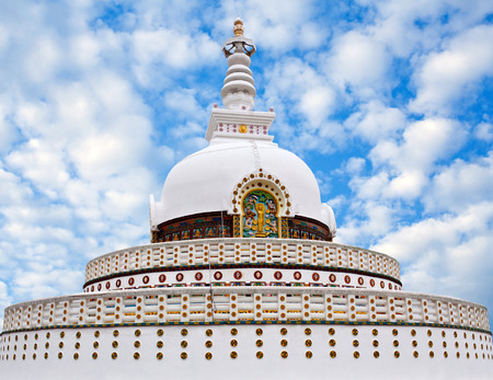 Shanti Stupa (Peace Pagoda) view on a hilltop in Chanspa in Leh, Jammu and Kashmir state, North India. Stock Photo