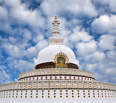 shanti: Shanti Stupa (Peace Pagoda) view on a hilltop in Chanspa in Leh, Jammu and Kashmir state, North India. Stock Photo