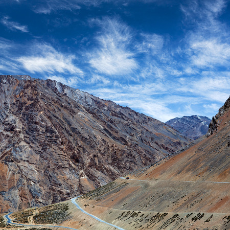 semitruck: Panorama of Himalaya mountain landscape along the Manali - Leh National highway in Ladakh, Jammu and Kashmir State, North India