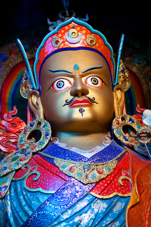 tantric: Statue of Guru Padmasabhava at Hemis Gompa in Ladakh, Jammu and Kashmir State, India. Padmasabhava is known also as Guru Rinpoche. Situated 45 km from Leh, the monastery was re-established in 1672 by the Ladakhi king Sengge Namgyal. Stock Photo