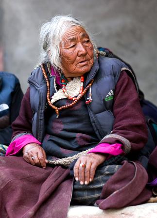 tantric: Ladakhi woman in national clothes poses for a photo during Yuru Kabgyat festival at Lamayuru Gompa on June 17, 2012 in Leh, India Editorial