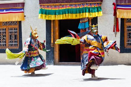 LAMAYURU, INDIA - JUNE 17, 2012: Buddhist monk in Deer mask dancing Cham mystery during Yuru Kabgyat festival at Lamayuru Gompa in Ladakh, Jammu and Kashmir, North India