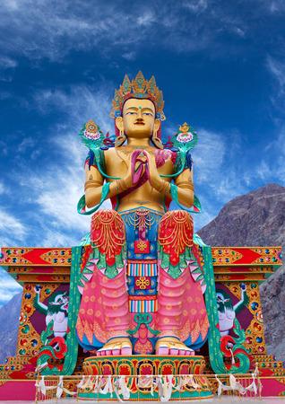 Statue of Maitreya Buddha near Diskit Monastery in Nubra Valley, Jammu and Kashmir, India