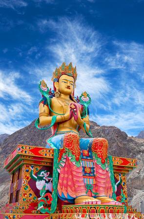 Statue of Maitreya Buddha near Diskit Monastery in Nubra Valley, Jammu and Kashmir, India. Stock Photo