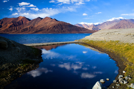 Pangong Lake in Ladakh, Jammu and Kashmir State, India. Pangong Tso is an endorheic lake in the Himalayas situated at a height of about 4,350 m.