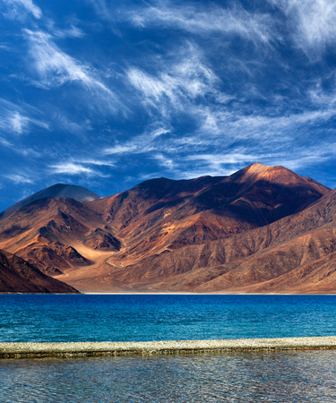 m: Pangong Lake in Ladakh, Jammu and Kashmir State, India. Pangong Tso is an endorheic lake in the Himalayas situated at a height of about 4,350 m.