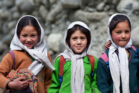 Balti students poses for a photo during their break time on June13, 2012 in Turtuk Village, Ladakh, India