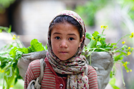 shool: TURTUK, INDIA - JUNE 13: Balti girl Atiya, 8, poses for a photo during Turtuk festival on June 13, 2012 in Turtuk Village, Ladakh, India. Turtuk village opened to foreign tourists in 2010.