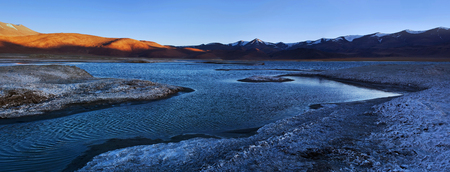 Panorama of Tso Kar salt water lake in Ladakh, North India. Tso Kar located in Rupsa valley, nearly 240 km southeast of Leh at a height of around 4,500 m and 28 km long. Stock Photo