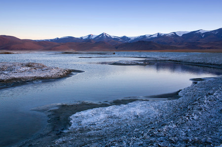 Tso Kar salt water lake in Ladakh, North India. Tso Kar located in Rupsa valley, nearly 240 km southeast of Leh at a height of around 4,500 m and 28 km long.